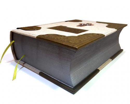 Библия в льняном переплете + отделка из кожи –  Магазин Икон | Фотография 1