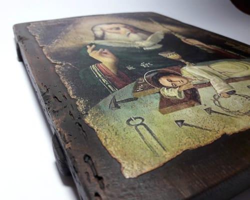 Икона Святой Троицы ручной работы