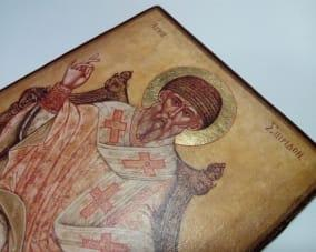 Икона Спиридона Тримифунтского ручной работы