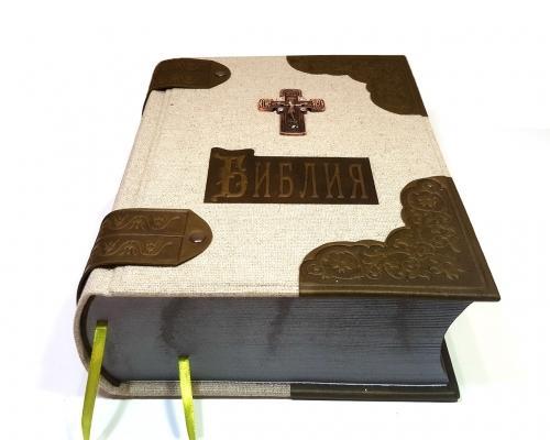 Библия в льняном переплете + отделка из кожи –  Магазин Икон | Фотография 5