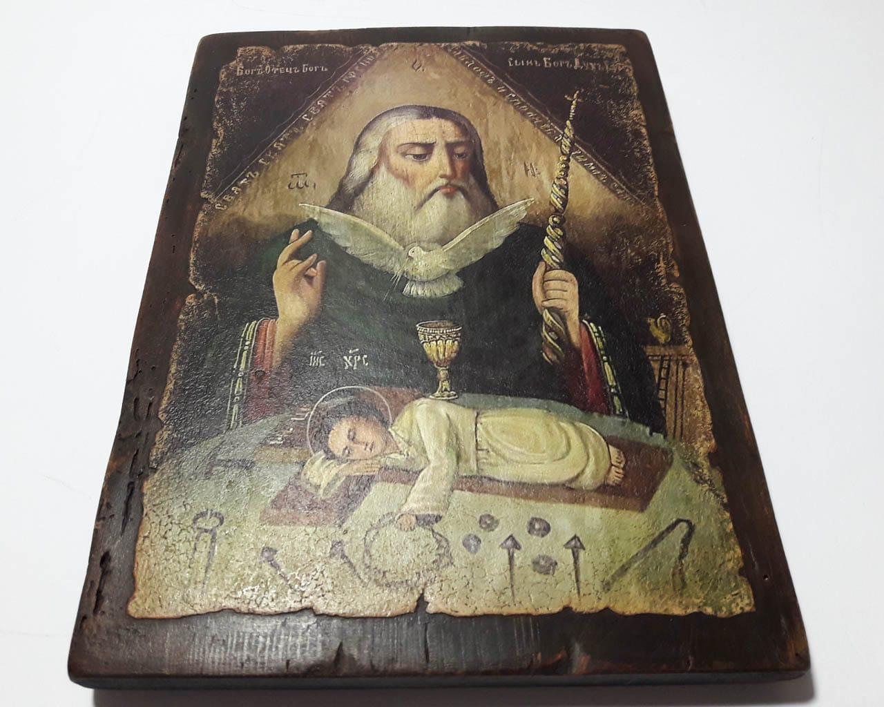Ікона Свята Трійця на зістареній дошці b891ddaf02f2a