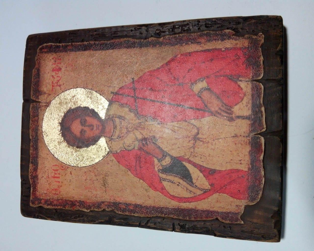 Ікона Святого Трифона на зістареній дошці. Title 550bc39487cd2